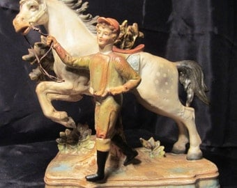 """Lovely antique bisque figurine: jockey and horse, Germany early 1900's;  6,5 """" high (F39)"""