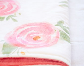 Watercolor Blanket | Minky Baby Blanket | Floral | Forest | Mountains