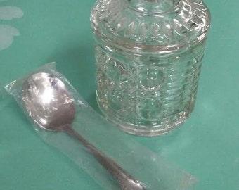 Vintage Jam Jar Crystal Jelly Jar Royal Brighton Sugar Bowl Mid Century Indiana Glass Honey Pot Covered Jar