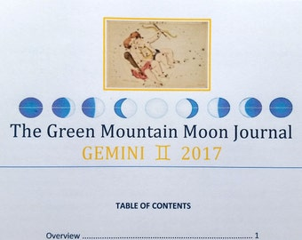 The Green Mountain Moon Journal, GEMINI 2017, Moon Cycle, Intuitive writing, Expressive writing, memoir,  instant download
