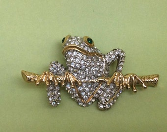 Pave Rhinestone Frog on Branch Brooch