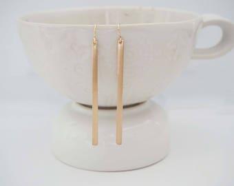 Matte Thin Gold Bar Earrings
