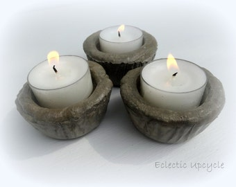"Mini Tart Cement Candle Holder, Includes One White 6"" Unscented Tea Light Candle"