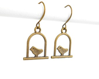 Minimalist Swinging Bird Earrings in Antique Bronze with Short & Simple earwires