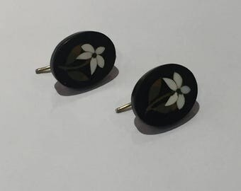 A Pair of Pietra Dura Flower Earrings