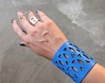 Leather Cuff Bracelet, Laser Cut Leather Bracelet, Geometric Cuff, Geometric Bracelet, Leather Wristband, Blue Cuff, Laser Cut Bracelet