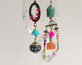 mismatched earrings - assemblage earrings - Long chandelier earrings - Bohemian Jewelry - Hippie Beaded bohemian style flower buddah