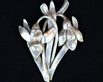 Vintage CINI Sterling Silver Hawaiian  ORCHID BROOCH