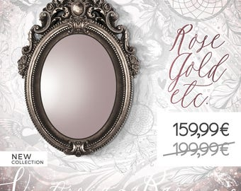 Bronze Baroque Mirror, Vintage Style Mirror, Silver Oval Mirror Frame, Antique Hand Mirror, Victorian Vanity Mirror, Edwardian Makeup Mirror