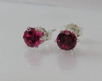 Ruby Post Earrings in Sterling Silver, Ruby Jewelry, Bride Earrings, Ruby Stud, 5mm Ruby Lab Created Gemstone, July Birthstone