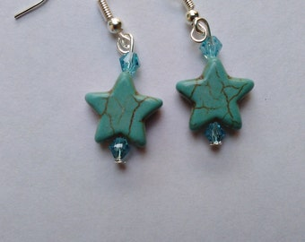 Turquoise - blue Coloured Turquoise stone stars,  beaded dangly Earrings