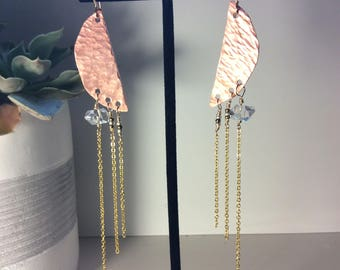 herkimer copper crescent and gold chain fringe fascinaters