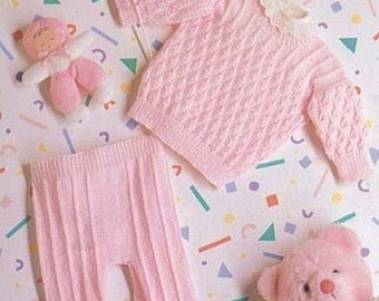 Prem Baby or Doll Knitting Pattern PDF Tiny Sweater & Leggings