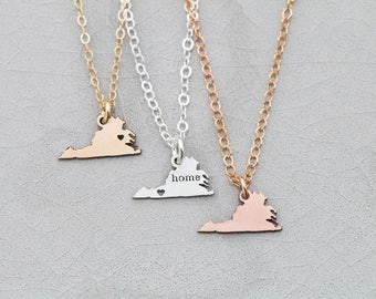 Virginia Gift Moving State Necklace • Virginia Charm State Jewelry Virginia Pendant Friendship Gift Long Distance Relationship