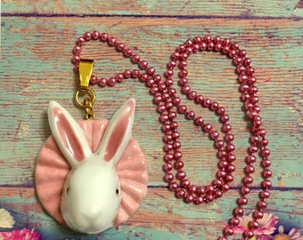 White rabbit, Little white bunny, Royal Bunny, Pink, Cute, Kawaii, long necklace, Funny gift idea, Easter Bunny, Spring Celebration