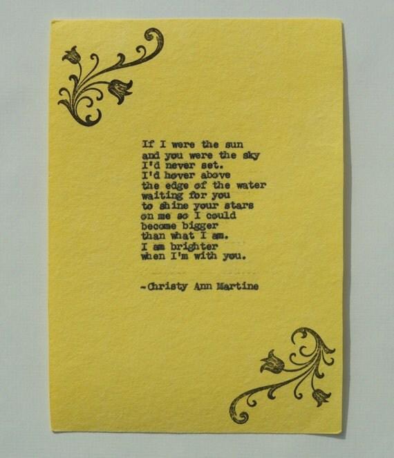 Yellow Decor - Love Poem Romantic Poem Typed onto 100% Cotton Handmade Paper - Anniversary Gift Ideas
