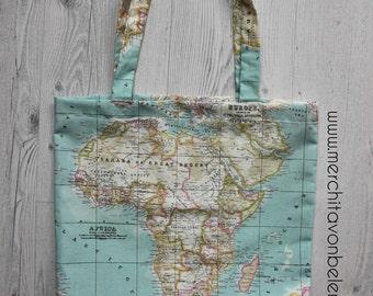 World map Tote Bag / Wanderlust / Bolsa de tela mapamundi