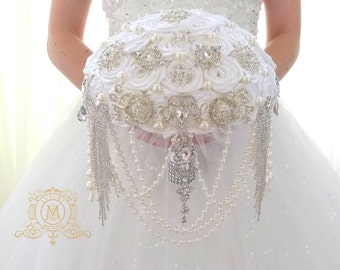BROOCH BOUQUET Cascading ivory or white jeweled brooch bouquet by Memory Wedding, pearl design