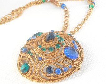 Vintage 1960's Glam Blue and Green Domed Necklace or Brooch Blue & Green Open Paisley Chain Dome Necklace or Brooch Hollywood Regency Glam