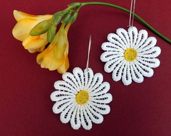 "White chandelier lace Earrings - ""Big daisy"" - boho earrings - gift for her"