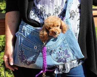 PET SLING CARRIER XSmall Teacup / Purse made from Upcycled Jeans Purple W/Butterflies