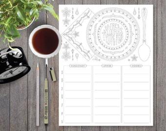 A4, Weekly Meal Planner Printable, Weekly Calendar Template, Bullet Journal Printable, Adult Coloring, Grocery List, Meal Planning, Menu