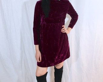 Vintage 60s Union Made Burgundy Mod Crushed Velvet Babydoll Mini Dolly Dress S