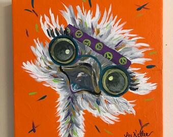 Ostrich Painting custom, colorful fun animal art, painting of an ostrich. Whimsical animal art, ostrich art, hippie animal art
