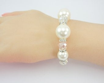 Bridal Stretch Bracelet, Wedding Bracelet, Faux Pearls, Glass Crystals, Clear Crystals, Blush Crystals, Crystal Spacers, One Size