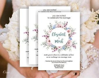 Invitation template etsy printable invitation template floral wreath diy wedding invitation flower design templates by oxee stopboris Gallery