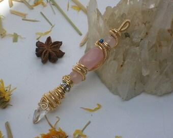 Rose Quartz Crystal Wire Wrap Wand Pendant / Wand Pendant Amulet Talisman / Wire Wrapped Gemstone and Crystal Wand Pendant Talisman