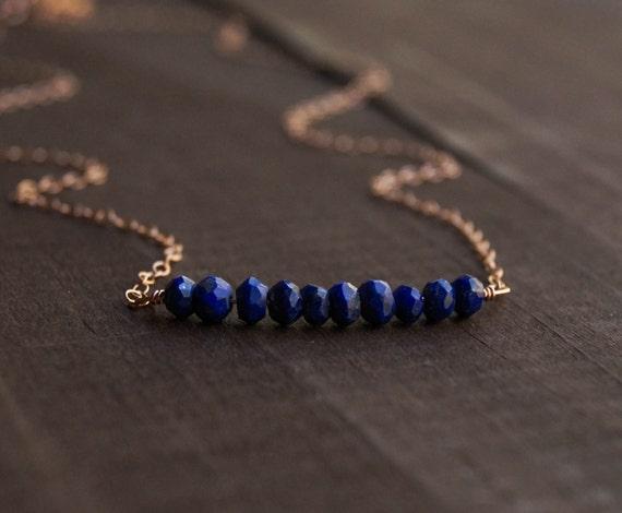 Lapis Lazuli Beaded Bar Necklace