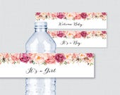 Pink Floral Baby Shower Water Bottle Labels Printable - Rustic Pink Flower Water Bottle Labels It's a Girl/Boy - Instant Download 0059