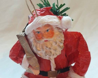 Vintage Santa ornament, Christmas tree bauble, home gift, holidays decoration, Father Christmas, tree topper, 1960's vintage home decor.