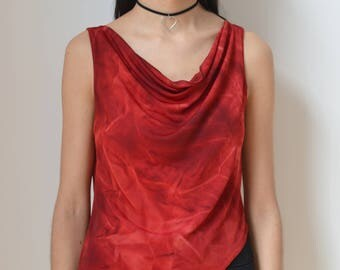 ASYMMETRIC TOP -red, passion, tank, 90s, 80s, night, party, elegant, cocktail, roses, grunge, gothic, club kid, sexy, draped-