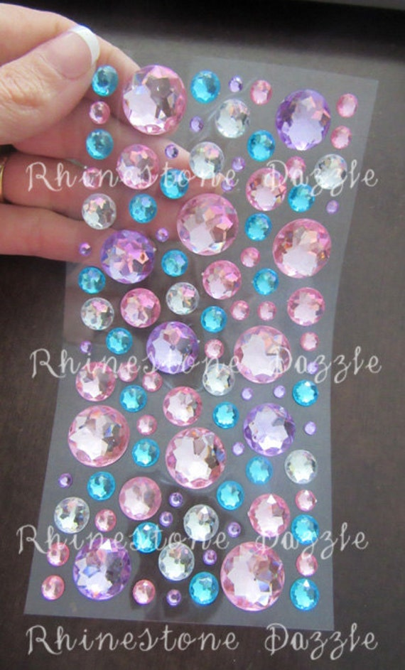Decorative Rhinestone Stickers : Mix size pastel rhinestone stickers self adhesive