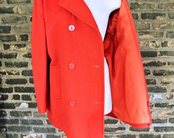 FREE SHIPPING    60's Vintage    Double Breasted    Naval Style Nautical    Red    Large Pea Coat    0279