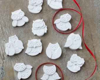 24 or More  Owl  Shaped Scented Lavender  Gessetti-Wedding-Animal-Place Holder Baptism-graduation Baby Shower-Talc-Gift-Favour-Gift Tag