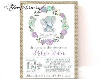 Rustic Girl Elephant Baby Shower Invitation Lavender Mint Burlap // Little Peanut Baby Shower Invites // Printable OR Printed No.1492BABY