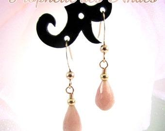 Pink opal drop earrings, rose gold-filled earrings