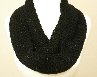 Crochet Infinity Scarf in Sparkly Black