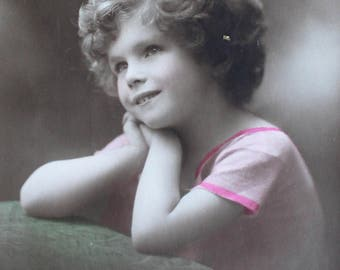 Antique Postcard Girl Wearing Pink Dress Vintage Collectable Craft Supply Collage Cardmaking Scrapbooking Decoupage Journalling