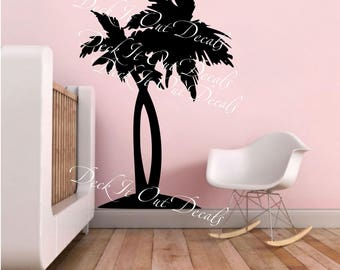2 palm trees in vinyl for interior decorating E00278