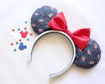 Fourth of July Mouse Ears, Fourth of July Minnie Ears, 4th of July Mouse Ears, 4th of July Minnie Ears, USA Flags Mouse Ears, Mouse Ears