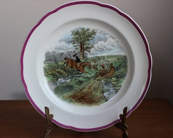 Vint age Spode Copeland Plate, The Hunt, Spode The Last Draw, J F Herring Sen Copeland Family, Kibblestone