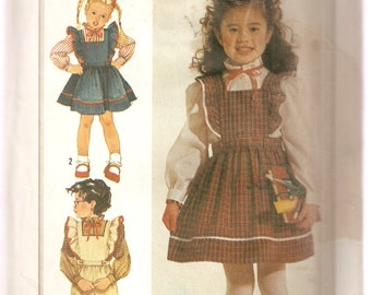 VINTAGE Simplicity Sewing Pattern 7011 - Children's Clothes - Girl's Blouse, Jumper & Overalls,
