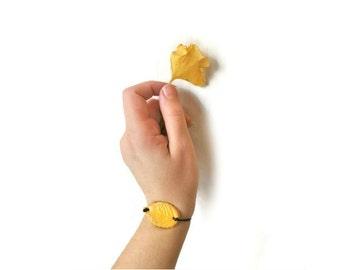 Yellow leaf bracelet, Simple folk bangle, Nature gift for her, natural jewelry, Woodland bracelets mori girl, cotton string simple bracelet
