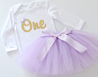 Girls 1st Birthday & Cake Smash Tutu Outfit | Gold Glitter One Onesie Bodysuit and Lavender Light Purple Tutu | Long Sleeves, Winter Outfit