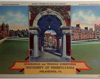 Penn Postcard , University of Pennsylvania, Vintage Postcard, Quadrangle and Triangle Dormitories, Philadelphia PA, linen, 1930's