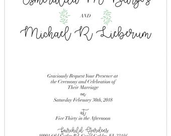 Earthy Green - Customized Wedding Invitations